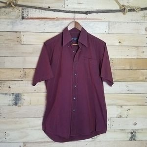 YSL Burgundy Short Sleeve Button Down Shirt